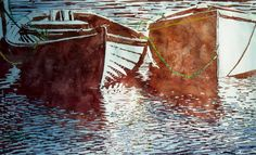 """white n orange dory 1  26"""" x 40"""" micheal zarowsky watercolour on arches paper / private collection"""