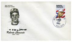 Estados Unidos, 1984 Sobre de Primer Día de Emisión con sello de cancelación, ilustración y timbre de Roberto Clemente.