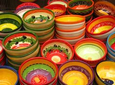Provencal colours - pottery.  Repinned by www.mygrowingtraditions.com