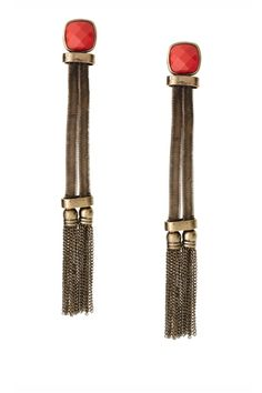 ASOS Statement Long Tassel Earrings with Stone Detail, $27.94, available at ASOS.