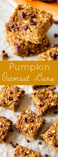 Soft & chewy pumpkin spice oatmeal bars loaded with chocolate chips. Perfect for on the go! From sallysbakingaddiction.com
