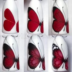 Nail art ideas tutorial ongles 58 Ideas for 2019 Butterfly Nail Designs, Butterfly Nail Art, New Nail Designs, Flower Nail Art, Nail Techniques, Trendy Nail Art, Nail Swag, Nagel Gel, Nail Decorations