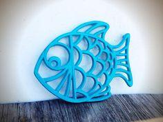 BOLD tropical fish trivet hot plate // seaside aqua blue turquoise // shabby beach cottage chic // nautical kitchen decor on Etsy, $16.00