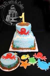 Beck's 1st birthday cake, smash cake, and coordinating cookie party favors!