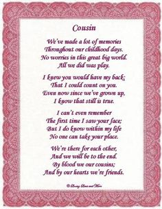 I Love You Cousin Poems | To order and personalize the poem above with a specific color and the ...