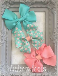 This Pretty Hair Bow set consists of 3 Pinwheel styles bows, 1 Peppermint Green, 1 Mint & Peach Flower Ribbon & 1 Coral. Each bow is approximately 3 1/2 inches and made from Grosgrain ribbon. The Bows can be attached to either; Blue Hair Bows, Ribbon Hair Bows, Diy Hair Bows, Diy Ribbon, Bow Hair Clips, Grosgrain Ribbon, Boutique Hair Bows, Making Hair Bows, Diy Bow