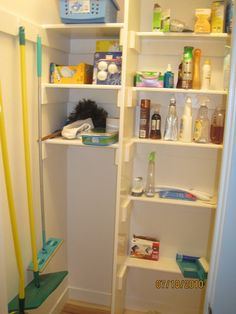 For those of you with walk-in pantries (open food storage - not a decorative butler's pantry), what would you consider minimum size needed? Broom Closet Organizer, Broom Storage, Vacuum Storage, Closet Storage, Closet Organization, Kitchen Redo, Kitchen Pantry, Parallel Kitchen Design, Hall Closet