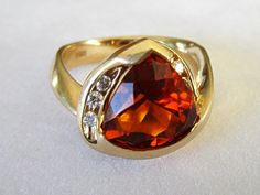 14K Gold Citrine Diamond Trillion Cut Ring