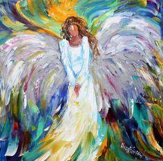 Original oil painting  Angel Bright palette knife by Karensfineart