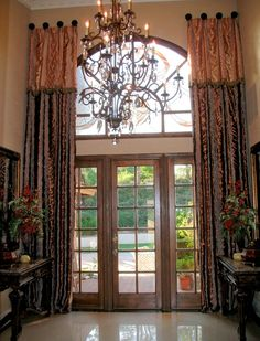 window treatments for tall windows ideas.window treatments for tall ceilings.window treatments for tall skinny windows. Tall Window Treatments, Window Coverings, Tall Windows, Arched Windows, Arched Window Curtains, Door Curtains, Tall Curtains, Curtains Living, Rideaux Design