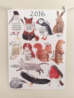 2016 'At a Glance' Animal Calendar by Jess Hinsley