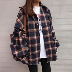 Buy Moon City Snap Button Flannel Shirt at YesStyl Indie Outfits, Cute Casual Outfits, Korean Outfits, Retro Outfits, Grunge Outfits, Fashion Outfits, Boujee Outfits, Casual Pants, Casual Shirts