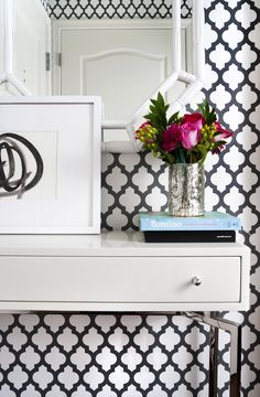Small entryway, white lacquer console, glam entry, glam space, gray and white foyer Design by JWS Interiors www.jws-interiors.com
