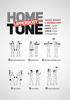 dumbbell workout Home Upperbody Tone Workout by Fitness Workouts, Arm Workouts At Home, Body Workout At Home, Fitness Workout For Women, Monthly Workouts, Arm Toning Workouts, Barbell Workout For Women, Tone Arms Workout, Weight Lifting Workouts