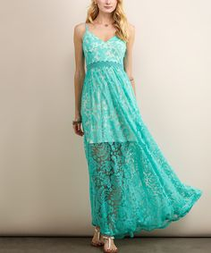 Take a look at this Soiéblu Blue Floral Lace Maxi Dress today!