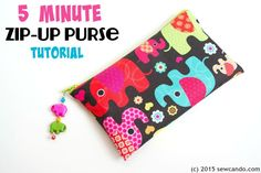 Sew Can Do: 5 Minute Waterproof Zip-Up Purse Tutorial.  This little zippered pouch is super handy - it's great to use as a coin purse, make-up bag or small clutch.  Very simple & beginner friendly.  No lining required!! It's ultra durable and totally waterproof too.