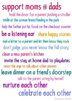 Ways to Support Moms and Dads