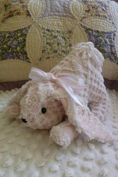 Upcycled Vintage Chenille Bedspread Bunny  Pink by PatternsGoneBy
