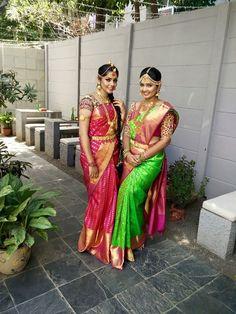 South Indian bride. Temple jewelry. Jhumkis.Silk kanchipuram sari.Braid with fresh flowers. Tamil bride. Telugu bride. Kannada bride. Hindu bride. Malayalee bride