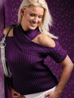 Free Knitting Pattern for Crossed Neck Top