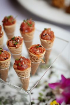 Tuna tartar /  wasbi cream / sesame seeds / mini cones by Lola's Cafe and Catering