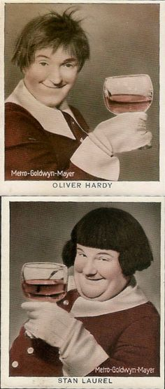 Stan Laurel (top), Oliver Hardy (bottom); both misidentified on the cards