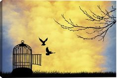 Cage for Bird Animal Canvas Wall Art Print by Unknown