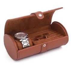 Leather Watch & Cufflink Travel Case - Tan Leather - 7W x 2.75H in. | www.hayneedle.com #chronoswiss #luxurywatches