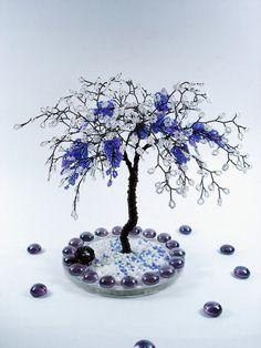 Blossom Grape Wire Beaded Tree - Home Decoration / Desktop Business Card Holder - Custom Order Art Tree