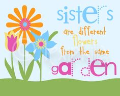 Children Art QUOTE Sisters Print 8x10 by Lexiphilia on Etsy