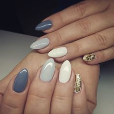 grey, light grey, white with gold glitter almond nails