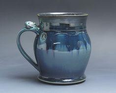 Sale - Pottery beer mug, ceramic mug stoneware beer stein deep blue 20 oz 3899 by BlueParrotPots on Etsy