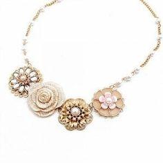 Fashion Gold Tone Flowers Bib Necklace at Online Jewelry Store Gofavor jewels-etc