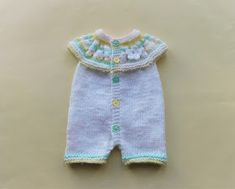 Marianna's Lazy Daisy Days: Top Down All-in-One Romper Suits Baby Cardigan Knitting Pattern Free, Baby Booties Free Pattern, Baby Boy Knitting Patterns, Baby Clothes Patterns, Baby Hats Knitting, Baby Patterns, Free Knitting, Knitting Dolls Clothes, Knitted Baby Clothes