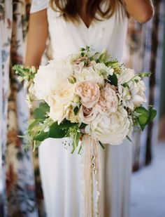 Featured Photographer: Leo Patrone; Stunning blush and white big floral wedding bouquet