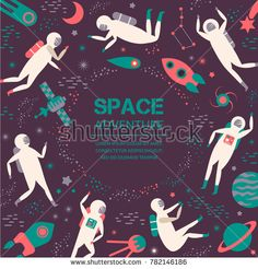 Space adventure.Cosmic objects, symbols and design elements, spaceships, planets, stars, rocket satellite Vector illustration