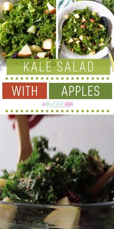 A low-calorie salad you must try! Simple Kale Salad with Maple Vinaigrette is a great way to enjoy the superfood. This quick and easy healthy recipe is made with a sweet and tangy dressing massage into fresh kale. Have this for lunch and dinner! Kale Salad Recipes, Superfood Recipes, Veggie Recipes, Vegetarian Recipes, Recipe For Kale Salad, Kale Salads, Healthy Salads, Easy Healthy Recipes, Simple Kale Recipes