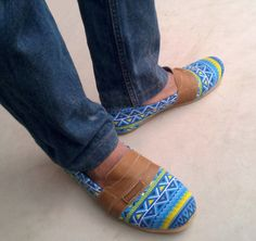 #handmade Slip On #Rangkayo #shoes blue yellow ethno Ikat by MarapulaiClothing