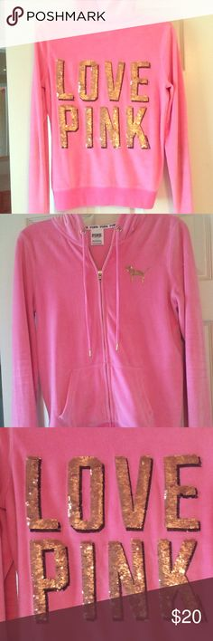 """Victoria's Secret love pink velour sweater hoody Victoria's Secret love pink velour sweater. On the back it has sequins gold """"love pink"""" written. Super soft and comfy. Rarely ever worn! Size small. PINK Victoria's Secret Tops Sweatshirts & Hoodies"""