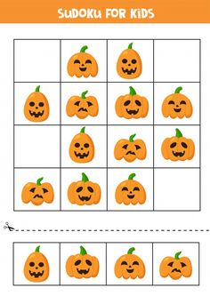 Sudoku Logical Game With Cute Halloween Pumpkins.