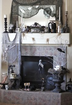 A spooky fireplace display
