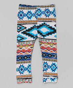 Look at this #zulilyfind! White & Blue Geometric Leggings - Infant, Toddler & Girls by LittleVMen #zulilyfinds