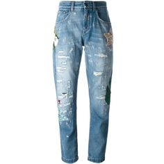 Dolce & Gabbana embellished boyfriend jeans ($1,498) ❤ liked on Polyvore featuring jeans, bottoms, pant, blue, sequin jeans, distressed jeans, mid rise boyfriend jeans, embroidered jeans and blue jeans