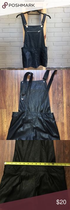 Black Leather Overall Shorts Faux black leather overall shorts. Bought these on posh but came in too late for an event. Love these I am just not adventurous enough to keep them in my closet. Make me an offer! Forever 21 Jeans Overalls