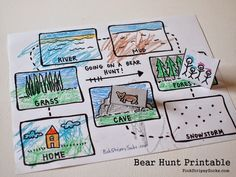 3 Easy Bear Hunt Activities (with printables) Map out the locations in Bear Hunt book (printable) Camping Games, Camping Activities, Activities For Kids, Bubble Activities, English Activities, Autumn Activities, Preschool Books, Preschool Crafts, Bears Preschool