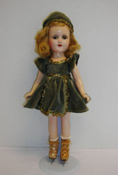 "ANTIQUE COMPO MADAME ALEXANDER SONJA HENIE DOLL ALL ORIG. HUMAN HAIR 1930's 14""  #Dolls"