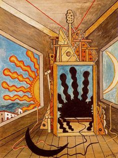 "Giorgio de Chirico ""Metaphysical Interior with Setting Sun"", 1971 (Italy, Metaphysical Art, cent. Italian Painters, Italian Artist, Psy Art, Modigliani, Painting Gallery, Arte Popular, Traditional Paintings, Les Oeuvres, Art History"