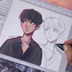 ☁️warm up sketch x bbh☁️ Character Sketches, Character Drawing, Art Drawings Sketches, Cute Drawings, Pretty Art, Cute Art, Itslopez, Boy Drawing, Cartoon Art Styles