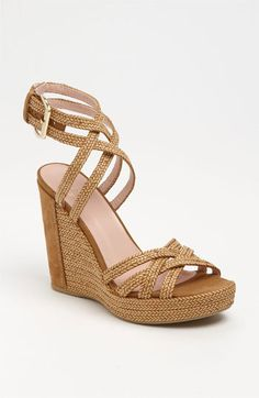 camel color strappy wedges