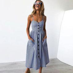 26be4aaafa1 UK Womens Holiday Strappy Button Pocket Ladies Summer Beach Midi Swing Sun  Dress